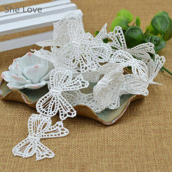 1 Yard Lace Sewing Craft Trim Embroidered DIY Bowknots Butterfly Flower Polyester