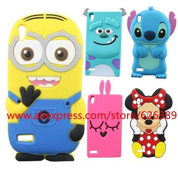For Huawei P6 Case 3D Cartoon Silicone Minions Sulley Stitch Rabbit Minnie Character Cell Phone For Huawei Ascend P6 Cases Cover