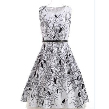 Womans Cotton Lace Formal Party Ball Gown Dress Women Sleeveless Fit and Flare O-neck Casual Mini Drsses Summer Clothing