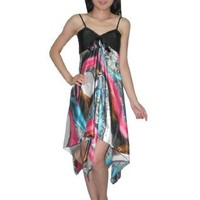 SILK COUTURE Womens Sexy Silk Free Flowing Summer Tank Dress - Multicolor