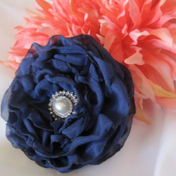 Navy Blue Chiffon Cabbage Rose Wedding Flower Hair Clip, Bride,  Bridesmaid, Mother of the Bride with Gorgeous Rhinestone Accent