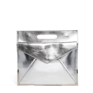 ASOS Leather Organiser Clutch Bag With Metal Corners