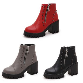 Womens Edgy Studded Platform Boots