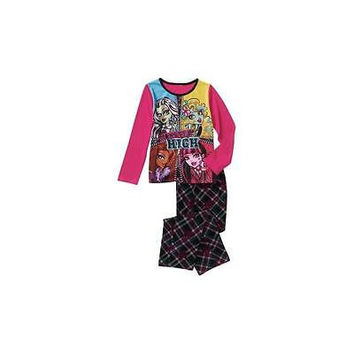 Girls' Fleece Pajama Pant Set, X-Small 4/5, Black Multi Mattel