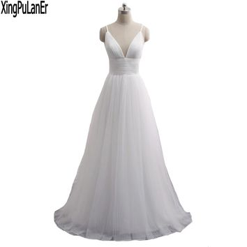 XingPuLanEr A Line Deep V Neck Sleeveless Pleated Bodice Open Back Sexy Simple Elegant Boho Wedding Dresses