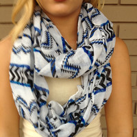 Black & Blue Chainsaw Infinity Scarf