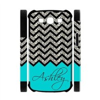 Personalized Turquoise Chevron Pattern(NOT GLITTERY) Samsung Galaxy S3 I9300 Best Durable PVC Two-In-One White/Black Cover Case