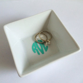 Monogrammed Ring Dish Jewelry Holder
