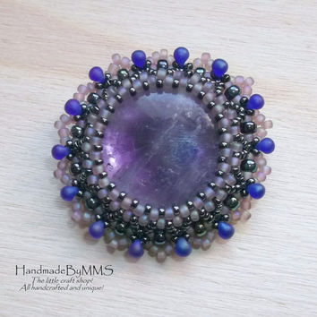 Amethyst beaded brooch, Unique brooch, Gemstone brooch, Brooch for her, Handmade brooch, Unique gifts, Gifts for her, Jewelry brooch