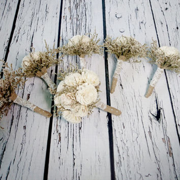 Bridal flowers package MEDIUM bridal 5 small bridesmaids BOUQUETS Ivory cream rustic wedding dried limonium Burlap lace Flower girl toss