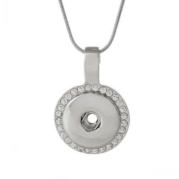 Snap Jewelry Necklace Snake Chain Round Silver Tone