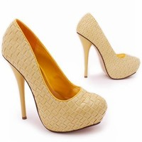 woven design leatherette pump $26.10 in BLACK BROWN CORAL GOLD GREEN SILVER TAN YELLOW - Stunning Shoes | GoJane.com
