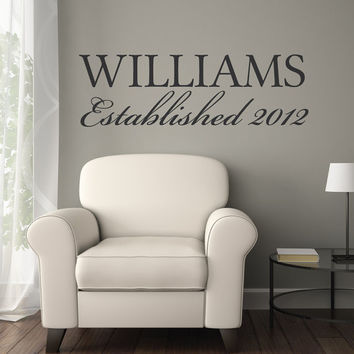 Family Decal - Family Established Sign - Family Wall Decal - Family Established Decal - Established Family Decal - Wall Decals
