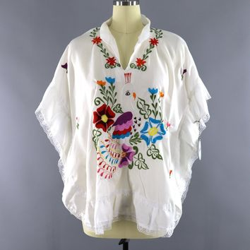 Vintage 1970s Mexican Embroidered Tunic / White Peacock and Floral Embroidery