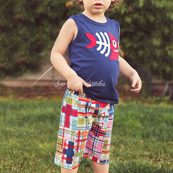 Boys Custom Madras Plaid Shorts - Custom Boys Shorts - Boys Shorts