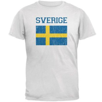 VONE05Y World Cup Distressed Flag Sweden Sverige Mens Soft T Shirt