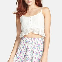 Lush Button Front Skater Skirt (Juniors) | Nordstrom
