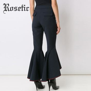 Gothic Bell Bottom Flare Pants Full Length Casual Slim Pants