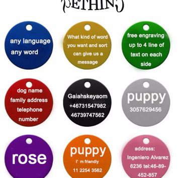 2pcs/lot Personalized engraving Pet ID tags dog cat round tags Aluminum dog tags identification customized name address phone
