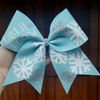 Christmas cheer bow, let it snow cheer bow, holiday  hairbow, Christmas hairbow, red green cheer bow, big cheer bow,  custom bow