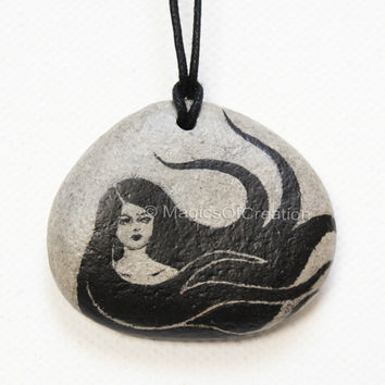 Original painting on stone as pendant, OOAK pebble art as jewelry, unique gift idea for girl