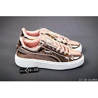 Puma Rihanna Mirror surface Creeper Comfort Stylish Fashion Unisex Shoes Thick Crust Couple Shoes Sports Sneakers Rose Golden I-HAOXIE-ADXJ