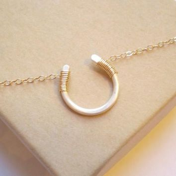 Luck Necklace   Mixed Metal   14k Gold Filled Horseshoe And Sterling Silver Chain   Matte Finish