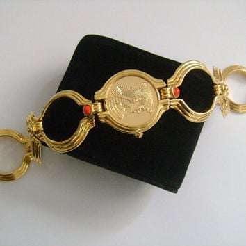 1988 The FRANKLIN MINT Egyptian Queen Cleopatra Swiss Quartz Movement Bracelet Wrist Watch 22K Gold Electroplated Red Coral Cabochon Accents