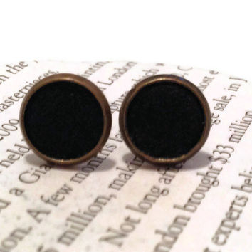 Black Leather Stud Earrings, Leather Earrings, Earstuds, Ear Stud Earring