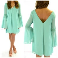 Maplewood Mint Crochet Bell Sleeve Dress