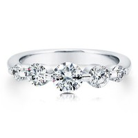 Sterling Silver 925 Round Prong-Set Cubic Zirconia CZ 5-Stone Ring #r293