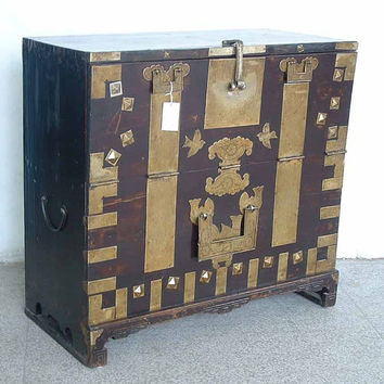 Amazing Late 19th century Black Chinese/Korean Asian Antique Cabinet chest with brass fitting hardware ~ Asian accent for your home