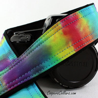 Rainbow Tie Dye Camera Strap, Hand dyed, One of a Kind, OOAK, dSLR or SLR, T