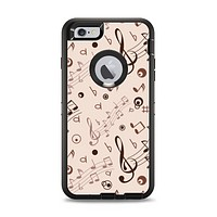 The Tan Music Note Pattern Apple iPhone 6 Plus Otterbox Defender Case Skin Set