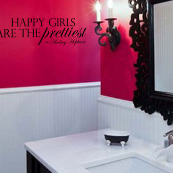 Audrey Hepburn Quote Happy Girls are the Prettiest Vinyl Wall Art Decal