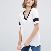 ASOS Longline T-Shirt With V-Neck And Grosgrain Insert at asos.com
