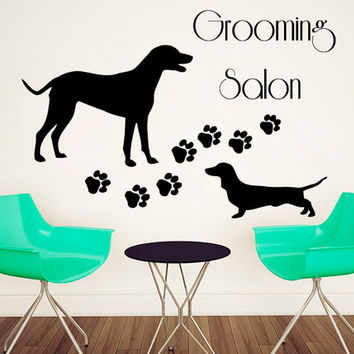 Pet Grooming Wall Decals Pet Shop Vinyl Stikers Paw Prints Decal Grooming Salon Art Mural Home Design Interior Living Room Animals Decor KY6