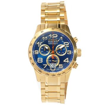 Invicta 10741 Men's Military Reserve Blue Dial Gold Steel Bracelet Chronograph Watch