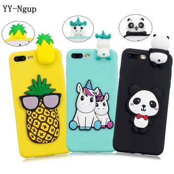 Capinha for iPhone 7 Case on for iPhone 5 5s se covers 3D Unicorn Panda Phone Case for Coque iPhone 9 Plus 6 6s 7 8 X Case Funda