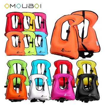 OMOUBOI Kids Adult Snorkeling Float Safety Life Jacket Swimming Vest Water Sports PPE Inflatable Buoyancy Life Buoys Rescue Vest