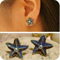 1PCS New Arrival 2012 top Unique design Chic Starfish Stud Earrings