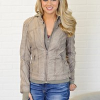 *  Nicole Bomber Jacket With Removable Hood : Taupe