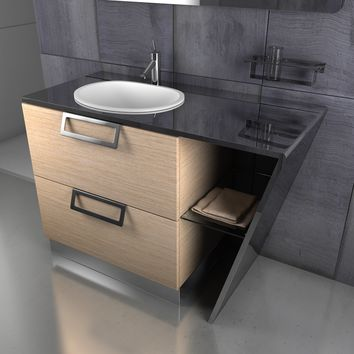 "Sette 48"" Single Sink Bathroom Vanity Console Steel and Solid Wood - PUTI Sink"