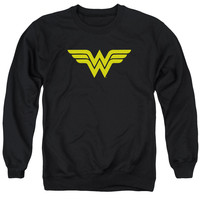 DC/WONDER WOMAN LOGO - ADULT CREWNECK SWEATSHIRT - BLACK -