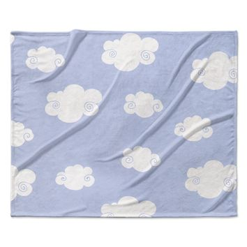 "Heidi Jennings ""Happy Clouds"" White Blue Fleece Throw Blanket"