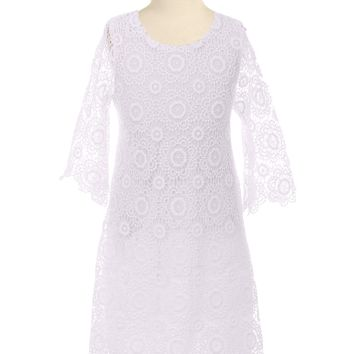 Girls White Floral Lace Shift Dress with Long Sleeves 2T-10