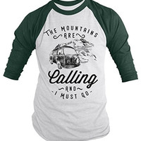 Shirts By Sarah Men's Hipster Mountains Calling Shirt Hiking Camping 3/4 Sleeve Raglan Tee