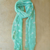 Mint Polka Dot Scarf [4120] - $12.00 : Vintage Inspired Clothing & Affordable Dresses, deloom | Modern. Vintage. Crafted.