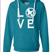 The Hunger Games Ladies Turqberry I Love The Hunger Games Deluxe Soft Fashion Hooded Sweatshirt Hoodie: Clothing