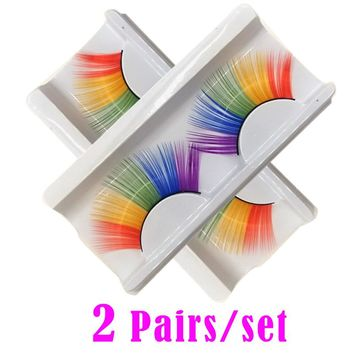 2 pairs/lot Ladies Halloween Stage Makeup Artistic False Eyelashes Exaggerated Drama Stage Dressing Party Colorful Eyelashes